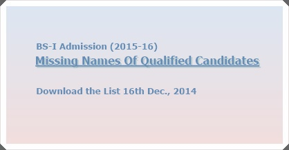Missing Names Of Qualified Candidates In BS-I Admission List (2015-16)