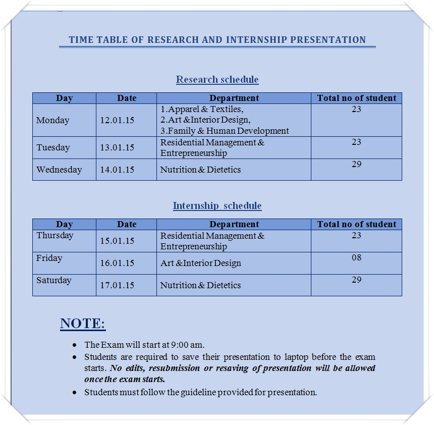 Research-&-Internship Schedule 2015