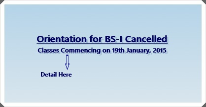 BS-I Orientation Cancelled