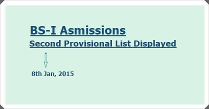 BS-I Admissions – Second Provisional Lists Announced