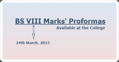 BS Marks' Pro formas 2015