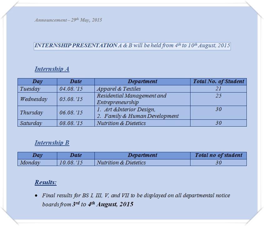 Research-&-Internship Schedule 2015