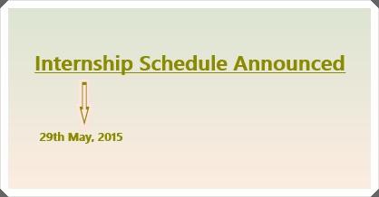 Internship Schedule – August 2015