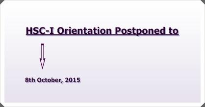 XI-Grade Orientation Postponed to 8th October, 2015