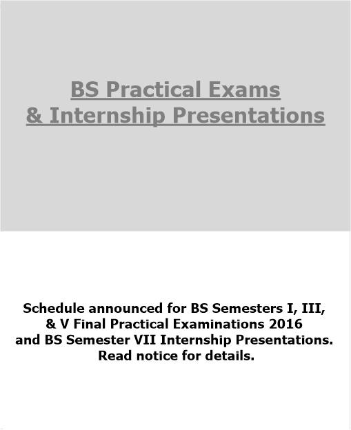 BS Practical Exams  & Internship Presentations 2016