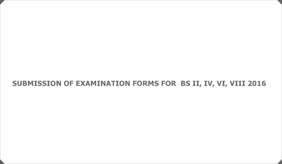 SUBMISSION OF EXAMINATION FORMS FOR  BS II, IV, VI, VIII 2016