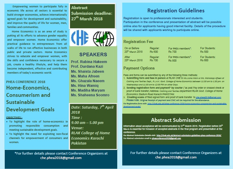 """PHEA CONFERENCE 2018 Home-Economics, Consumerism and Sustainable Development Goals"""