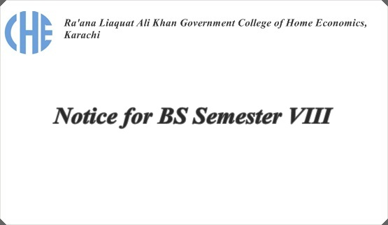 Notice for BS Semester VIII