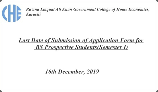 Last Date of Submission of Application Form for BS Prospective Students(Semester I)