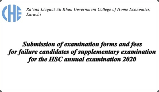 Submission of examination forms and fees for failure candidates of supplementary examination for the HSC annual examination 2020.