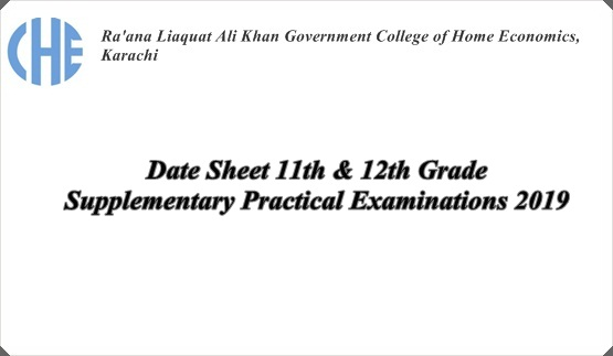 Date Sheet 11th & 12th Grade Supplementary Practical Examinations 2019