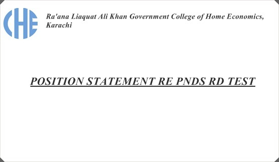 POSITION STATEMENT RE PNDS RD TEST