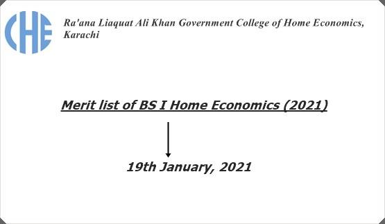 Merit list of BS I Home Economics (2021)