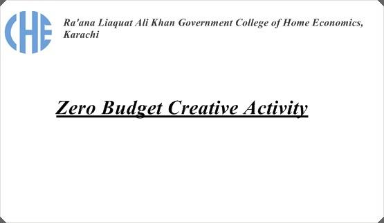Zero Budget Creative Activity