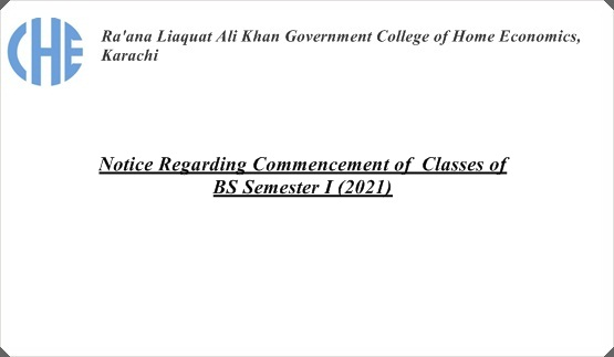 Notice Regarding Commencement of Classes of BS Semester I (2021)