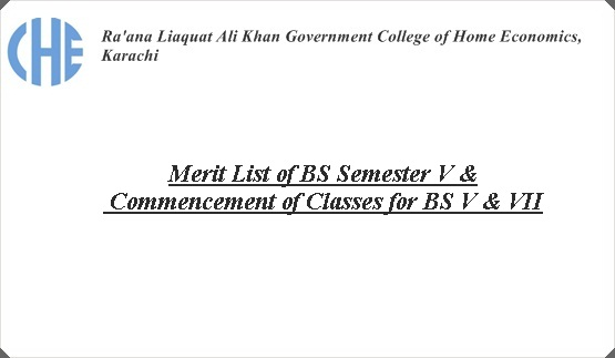 Merit List of BS Semester V & Commencement of Classes for BS V & VII