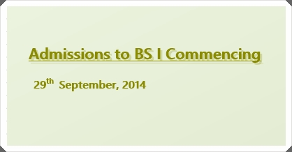 Admissions to BS I, 2014