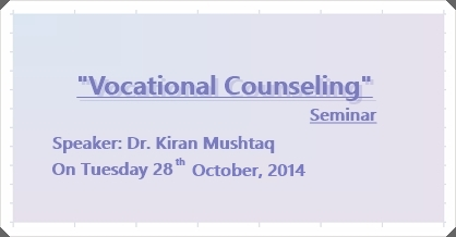 Seminar: Vocational Counselling & Careers in Home Economics