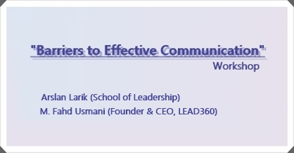 "Workshop: ""Barriers to Effective Communication"""