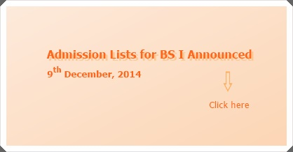 BS I Admission Lists (2015) Announced