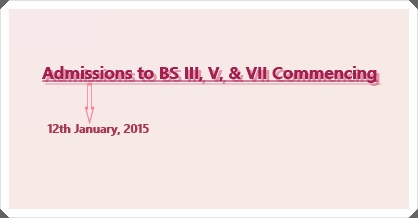 Admissions to BS Semester III, V, & VII