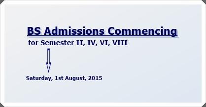 Admissions to BS Semester II, IV, VI & VIII