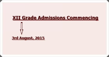 Admissions to XII Grade, 2015