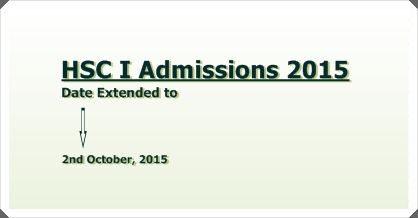 Closing Date for HSC I Admissions 2015 Extended