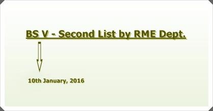 Second Merit List for Admissions to BS Semester V in RME Dept.