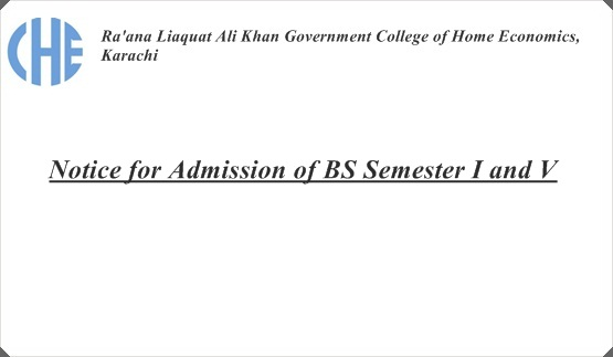 Notice for Admission of BS Semester I and V