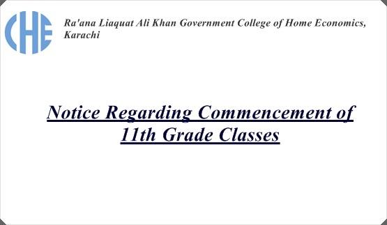 Notice Regarding Commencement of  11th Grade Classes