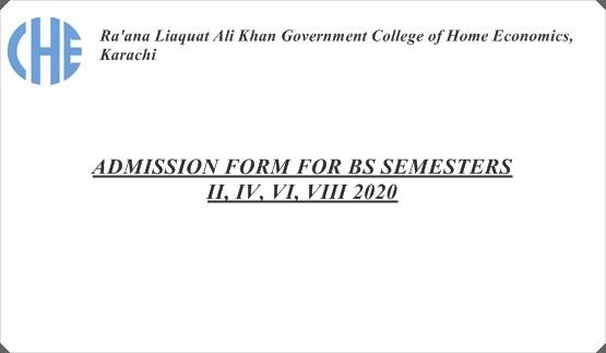 ADMISSION FORM FOR BS SEMESTERS  II, IV, VI, VIII  2020