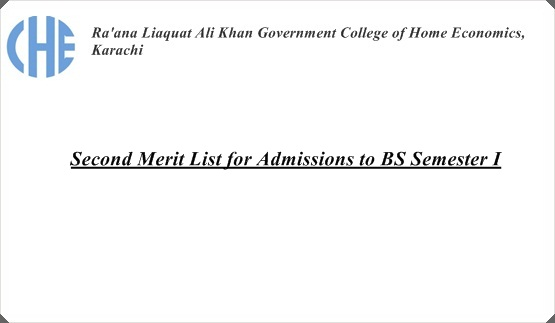 Second Merit List for Admissions to BS Semester I