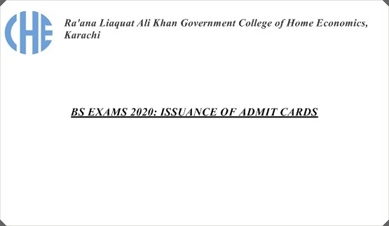BS EXAMS 2020: ISSUANCE OF ADMIT CARDS